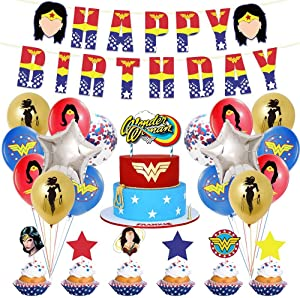 Wonder Woman Birthday Party Decorations for Adults Kit Party Supplies for Girls Pack Includes Banner Balloons Favors