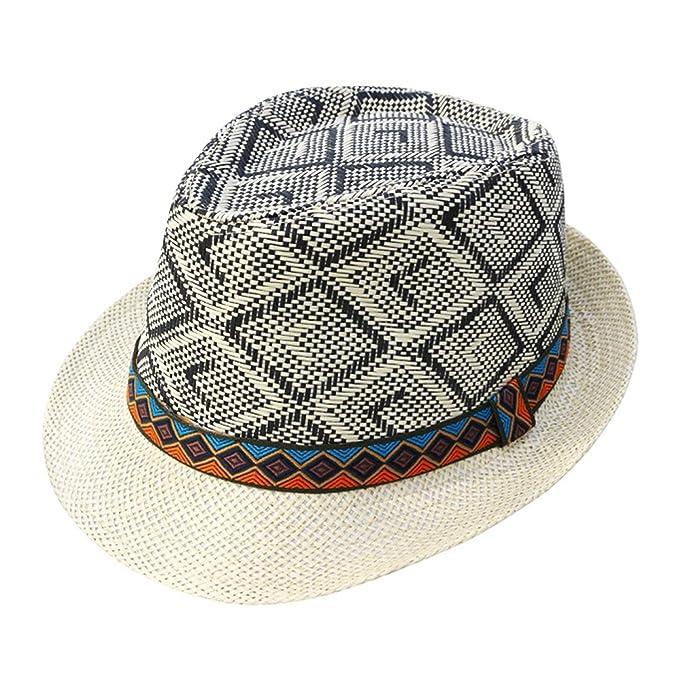 Sunonip Sombrero De Verano De Paja para Hombre Elegante Sombrero De Caballero De Homburg Gorra De Playa Sombrero De Panamá, Beige01, OneSize: Amazon.es: ...