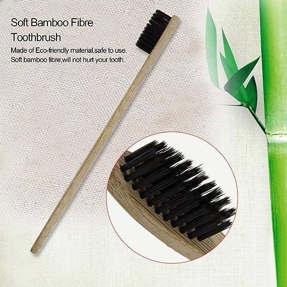 Detectoy Cepillo de dientes de madera de bambú suave con mango de madera de fibra de bambú ecológico: Amazon.es: Hogar