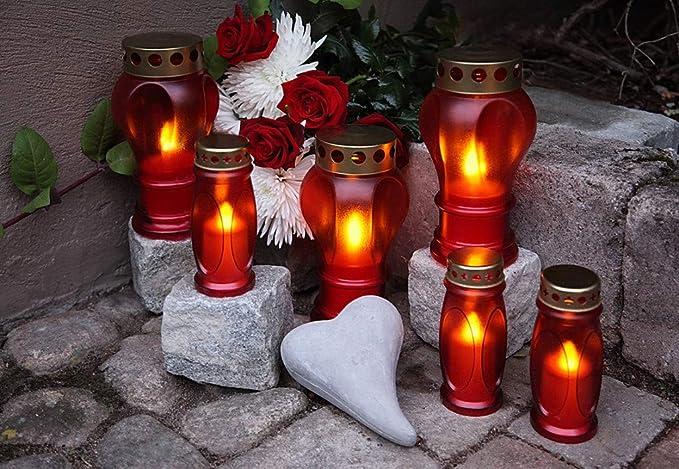 LED Grableuchte Grablicht Grablaterne Grabkerze 20cm rot 066-49