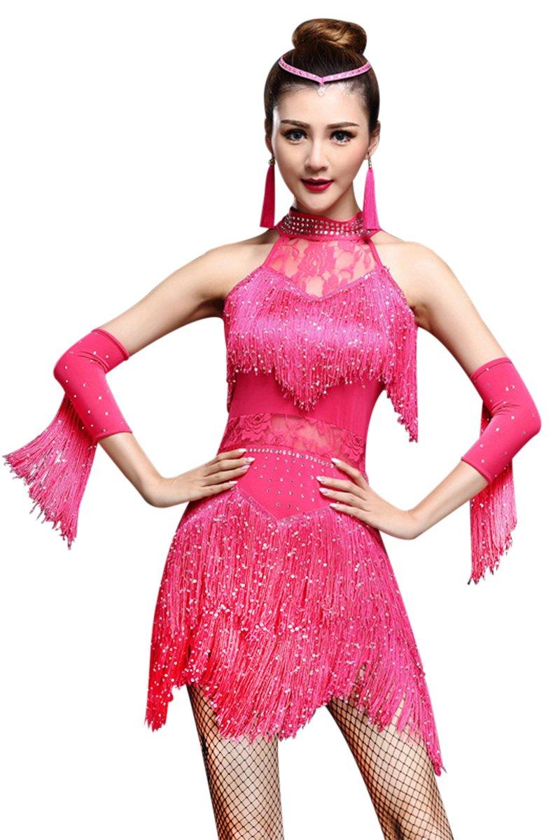 Z&X Women's Rhinestone Tassel Flapper Latin Rumba Dance Dress 4 Pieces Outfits Medium Fuchsia by ZX