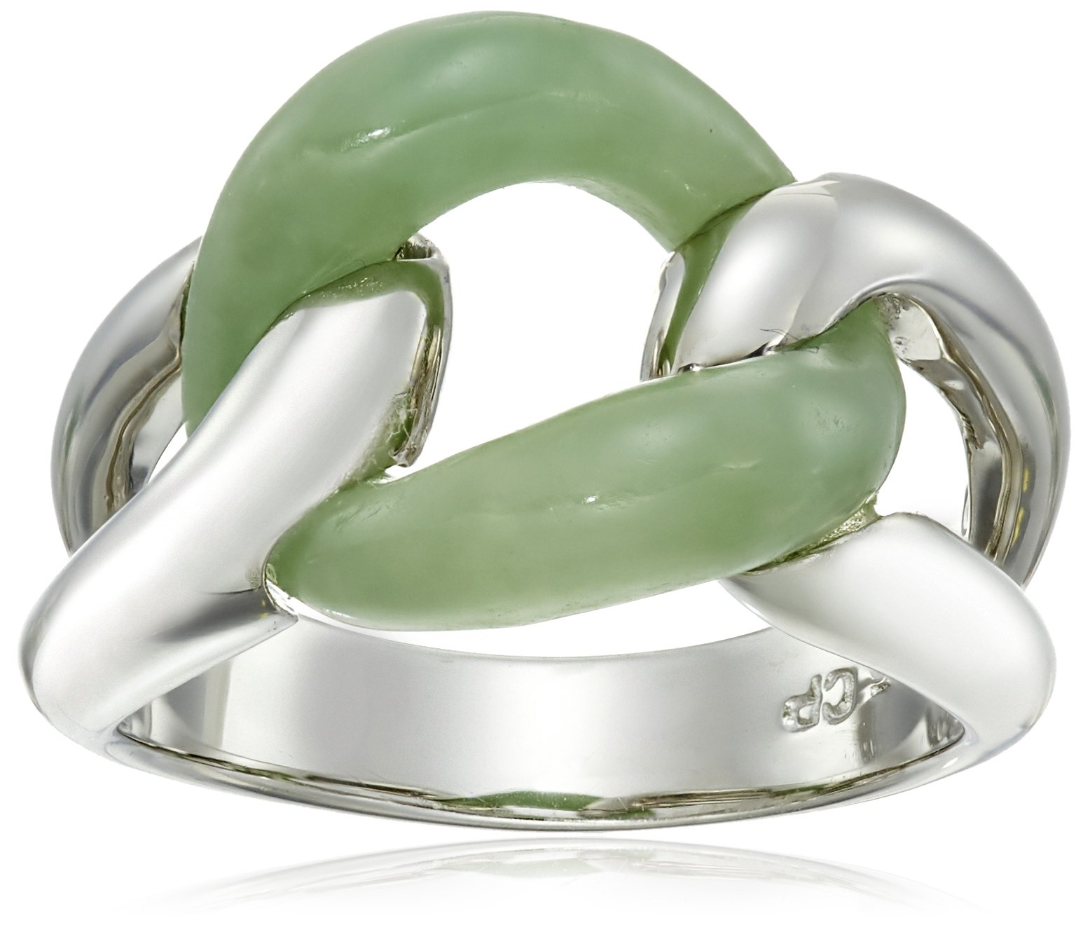 Rhodium-Plated Sterling Silver Green Jade Interlocking Ring, Size 7