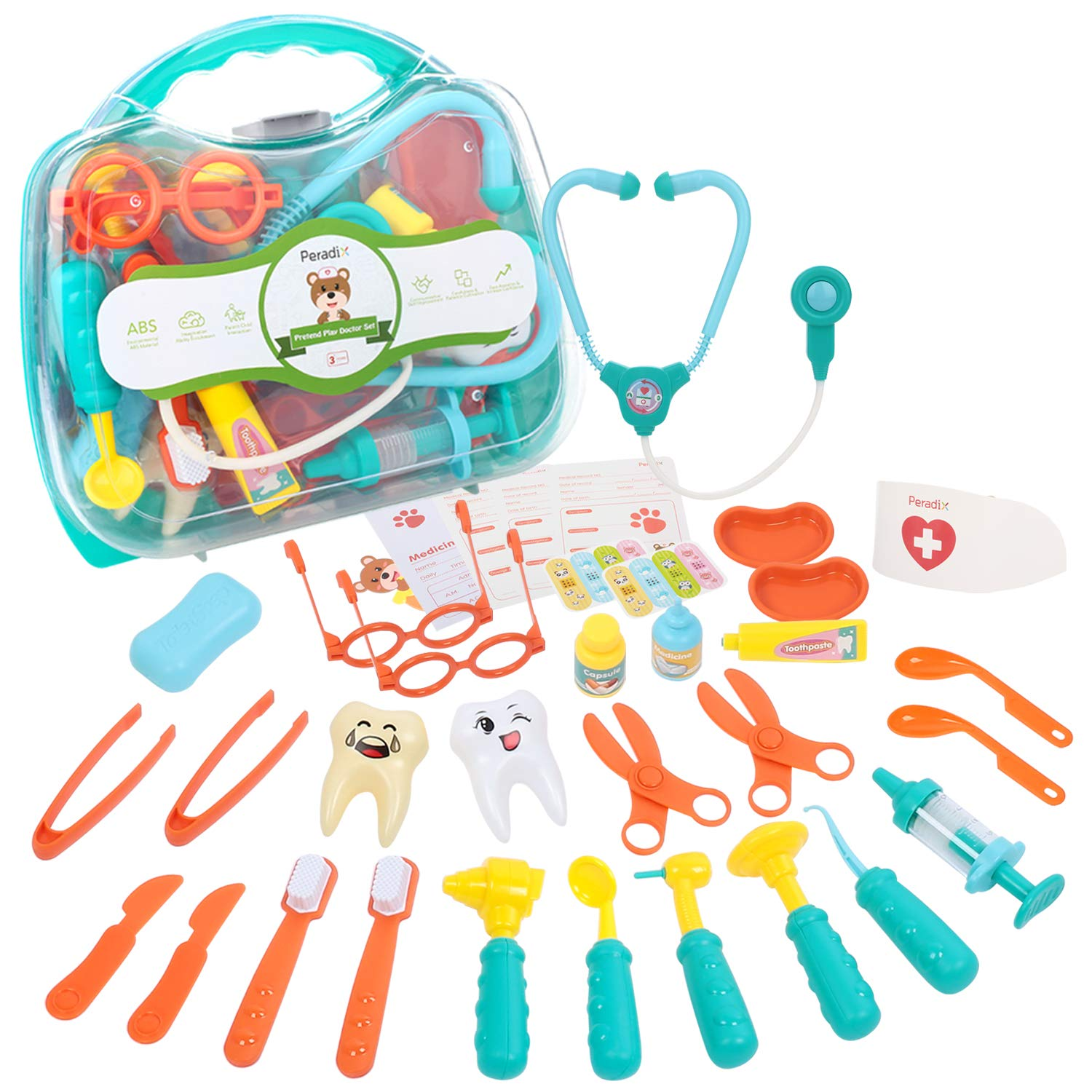 Peradix 41pcs Doctor Kit for Kids Medical Toy Set Durable Role Play Dentist Case Stethoscope Toy Gift for Kids Age 3+