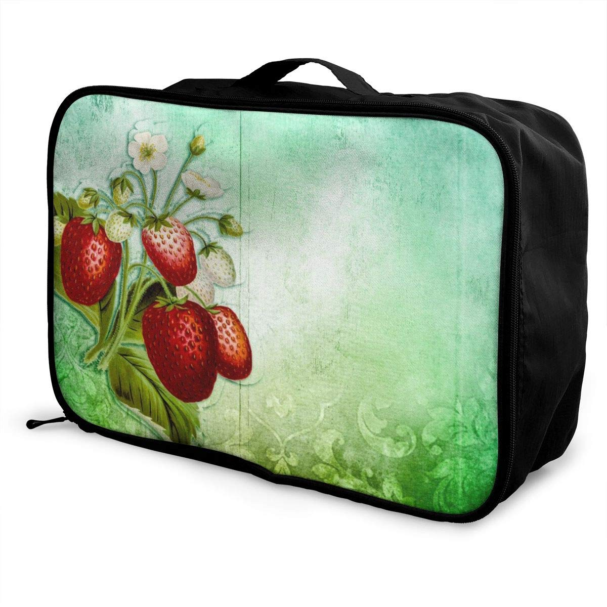 Decorate Retro Texture Flower Strawberry Travel Lightweight Waterproof Foldable Storage Carry Luggage Large Capacity Portable Luggage Bag Duffel Bag