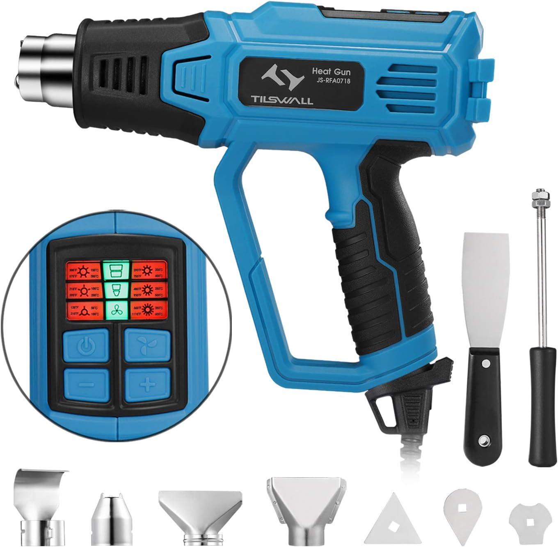 Pistola Aire Caliente 2000W Tilswall, Decapador Profesional 50-600 ℃ con 12 Modo de Ajustes de Temperatura, Pantalla LED, 4 Ugelli con Raschietto, Nucleo di Riscaldamento in Ceramica