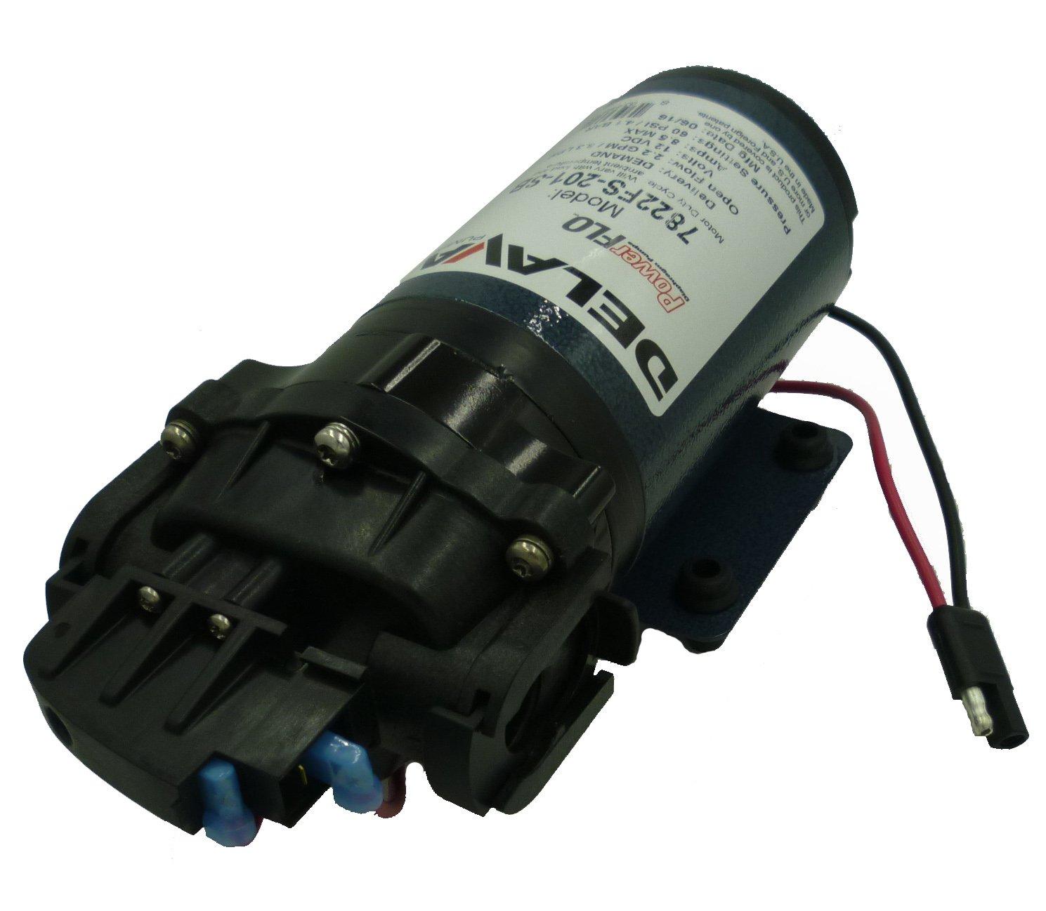 Delavan 7822FS-201-SB Flex Diaphragm Pump 12V, 60 PSI, 2.2 GPM, Demand Pump with 3/4'' QA Ports