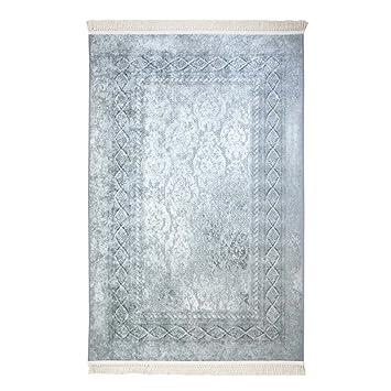 Teppich Flachflor Polyester Waschbar Klassisch Maander Grau Mit
