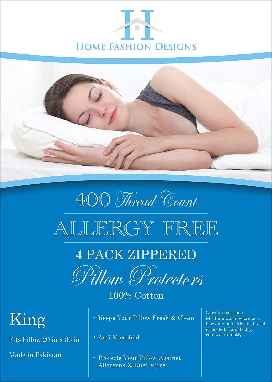 Amazon.com: 4-Pack Premium Allergy Protection Pillow Protectors ...