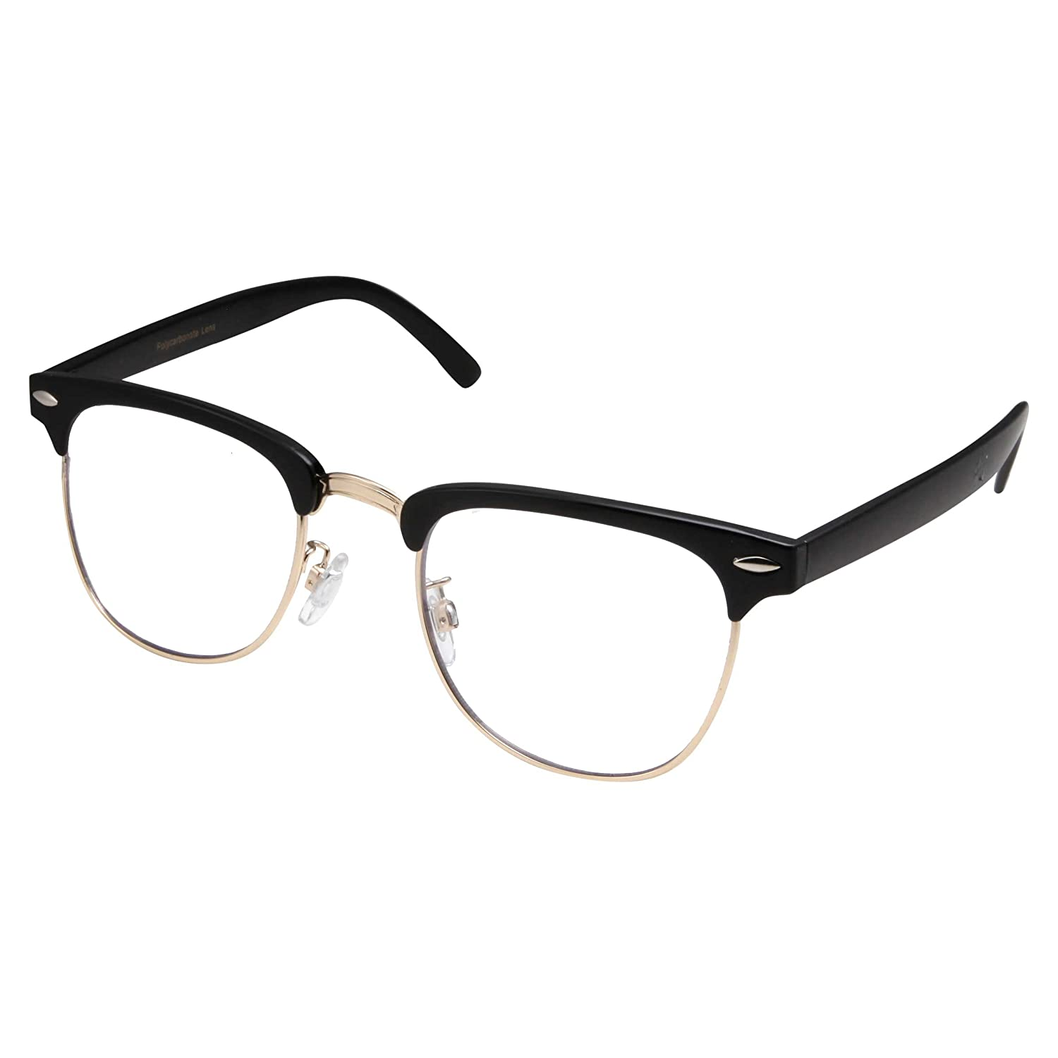 4a91d4efb87 Amazon.com  grinderPUNCH - Mens Non Prescription Clear Lens Glasses Black  Gold  Clothing