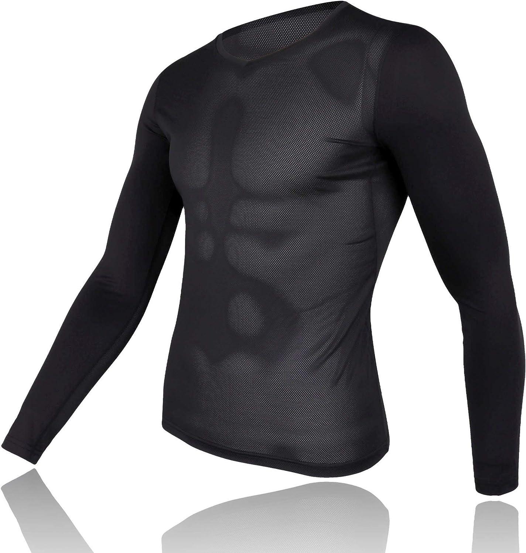 Mens Mesh Base Layer Long Sleeve Cycling Undershirt