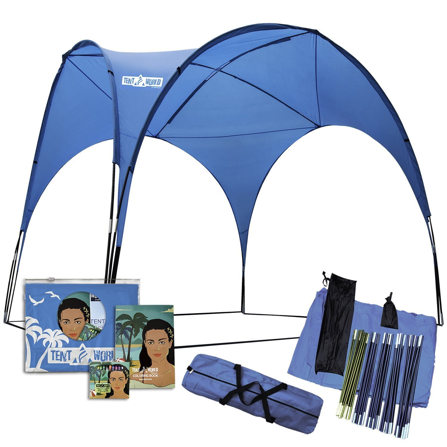 Huge Beach Tent: Shades Over 12 People! Easy Up Canopy, UV Protection Gazebo Roof. Shade Shelter Awning for Outdoor Parties, Camping, Sport Event, Patios. Steel Frame Patio Gazebos, Party Cabana Tents