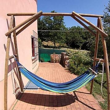 Ruixf Hamaca de jardín, Hamacas portátiles Transpirables a Rayas de Lona Patio Patio al Aire Libre (M -200cm X 100cm, Rayas Azules): Amazon.es: Jardín