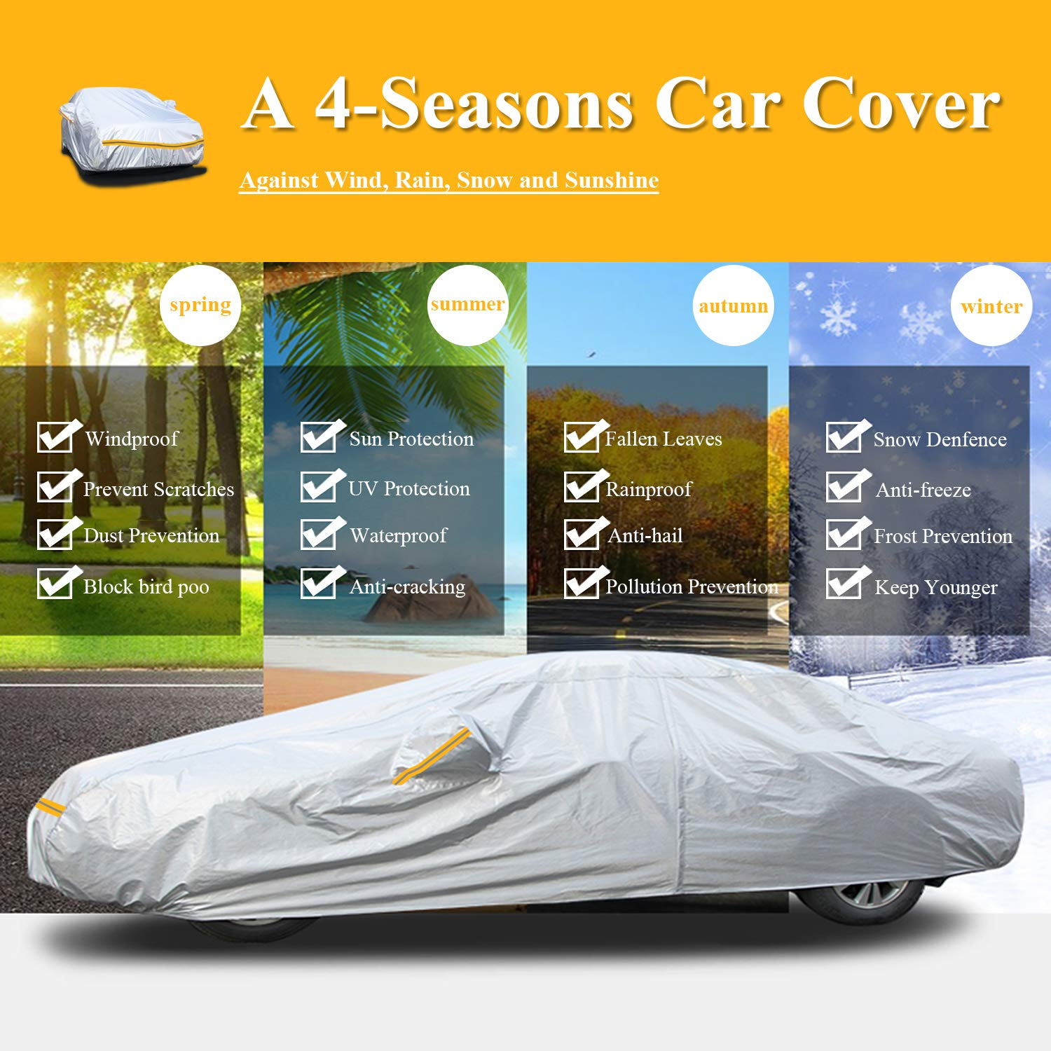 Snow Protect Car Cover,6 Layers Car Cover Outdoor Protection Winter Car Cover Waterproof All Weather Universal Full Car Cover with Zipper A9-3XL+ Fits Sedan 191 to 200