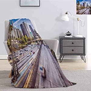 Luoiaax Travel Bedding Flannel Blanket Downtown Cityscape of Los Angeles California USA Avenue Buildings Palms Print Super Soft and Comfortable Luxury Bed Blanket W70 x L90 Inch Blue Grey Green