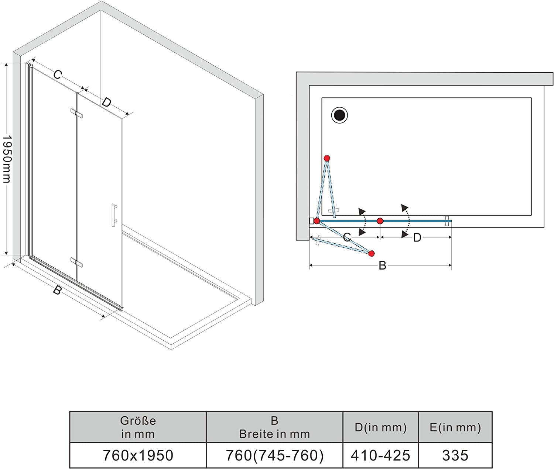 Nanobeschichtung AQUABATOS/® 110x200 cm Duschwand Duschabtrennung satiniert Milchglas Walk-In Dusche aus Echtglas 10mm ESG-Sicherheitsglas inkl
