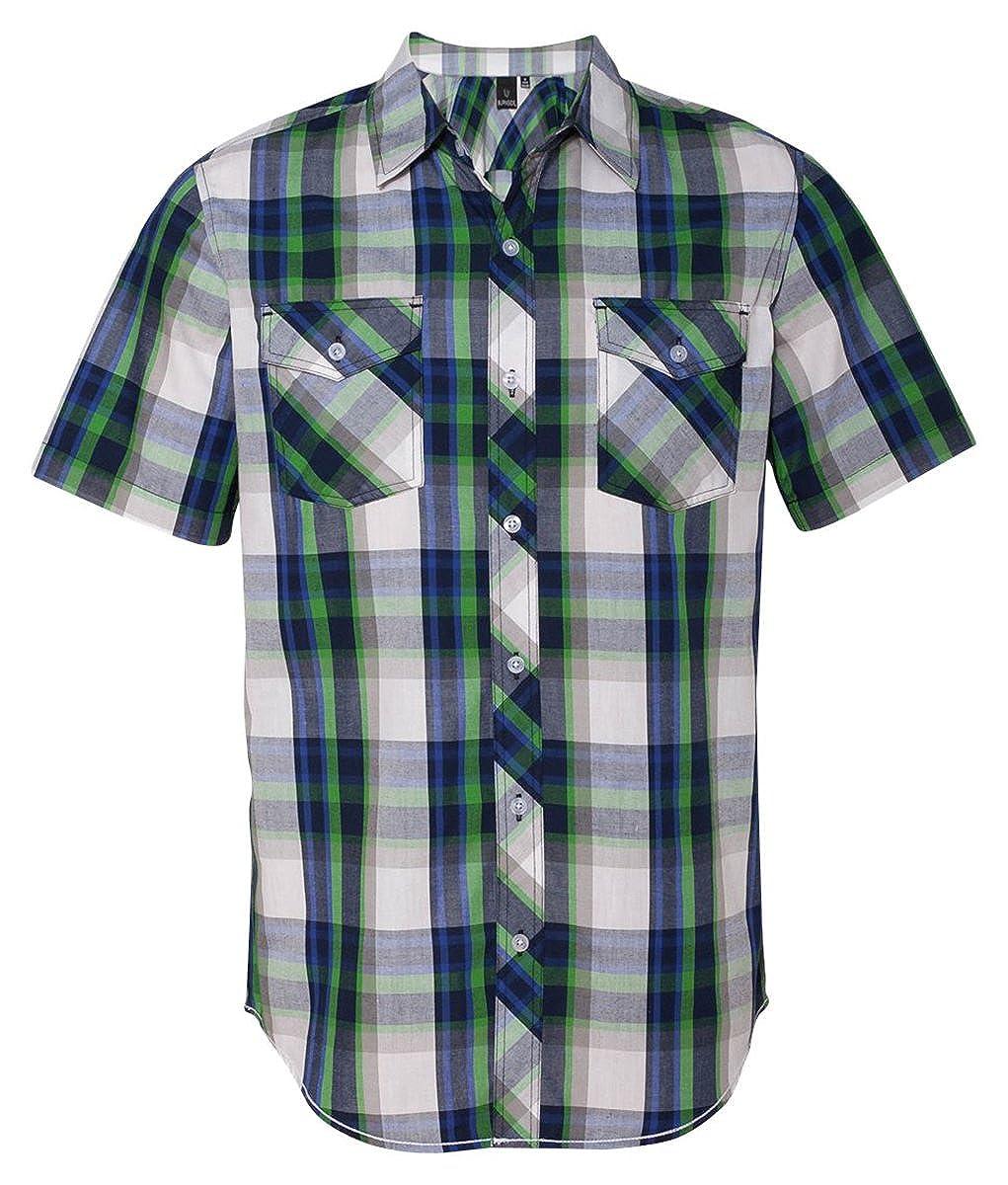 Amazon.com: Burnside Mens Plaid Short Sleeve Shirt-B9202: Clothing