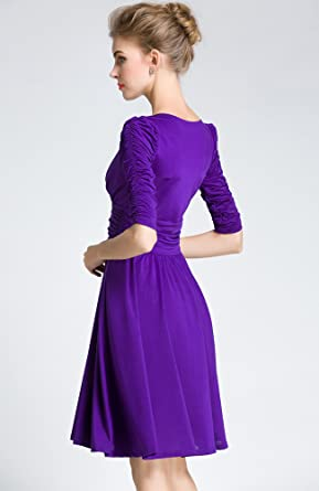 Medeshe Womens Cadbury Purple Ruched Waist Classy V-Neck Bridesmaid Dress: Amazon.co.uk: Clothing