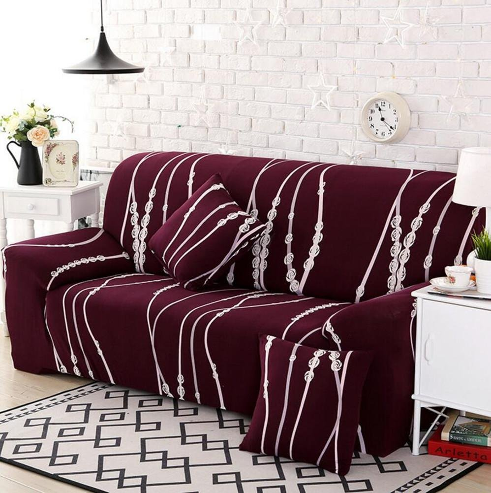 Sofa Cover Elastic Slipcover Polyester Multifunction Couch Cover Home Decor Printing Sofa Mats , 1 seater:90-140cm wexe.com