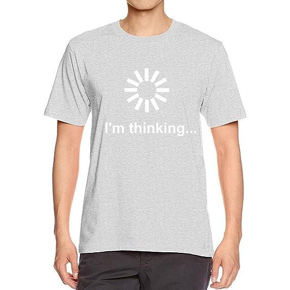 T-Shirt para Hombre Moda Estampado Cartas I m Thinking Cuello Redondo  Sueltos Casuales Transpirables Verano Camiseta de Manga Corta Blusa Tops  MMUJERY  ... 6b7b0437f4583