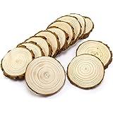 12pcs Wooden Wood Log Slices Natural Tree Bark Plaque Decorative Wedding 11-12cm