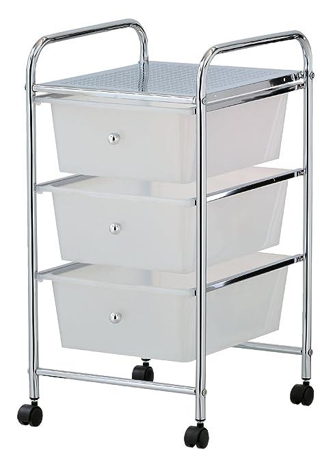 mondex INX400-00 - Mesa de Servicio con Ruedas, con 3 cajones, para baño, de Metal Cromado, Metal, Blanco, 5 cm: Amazon.es: Hogar