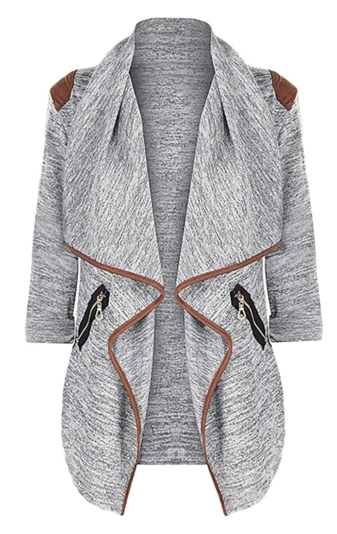 YYG Women Patchwork Open Front Jacket Blazer Fashion Trench Coat Cardigan