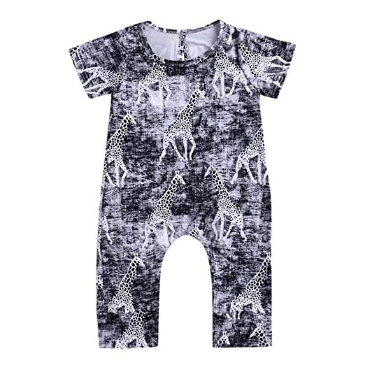 90f67610bfa8 Amazon.com  Lurryly❤Girls Boys Giraffe Romper Jumpsuit Toddler Casaul Newborn  Baby Clothes 0-2T  Clothing