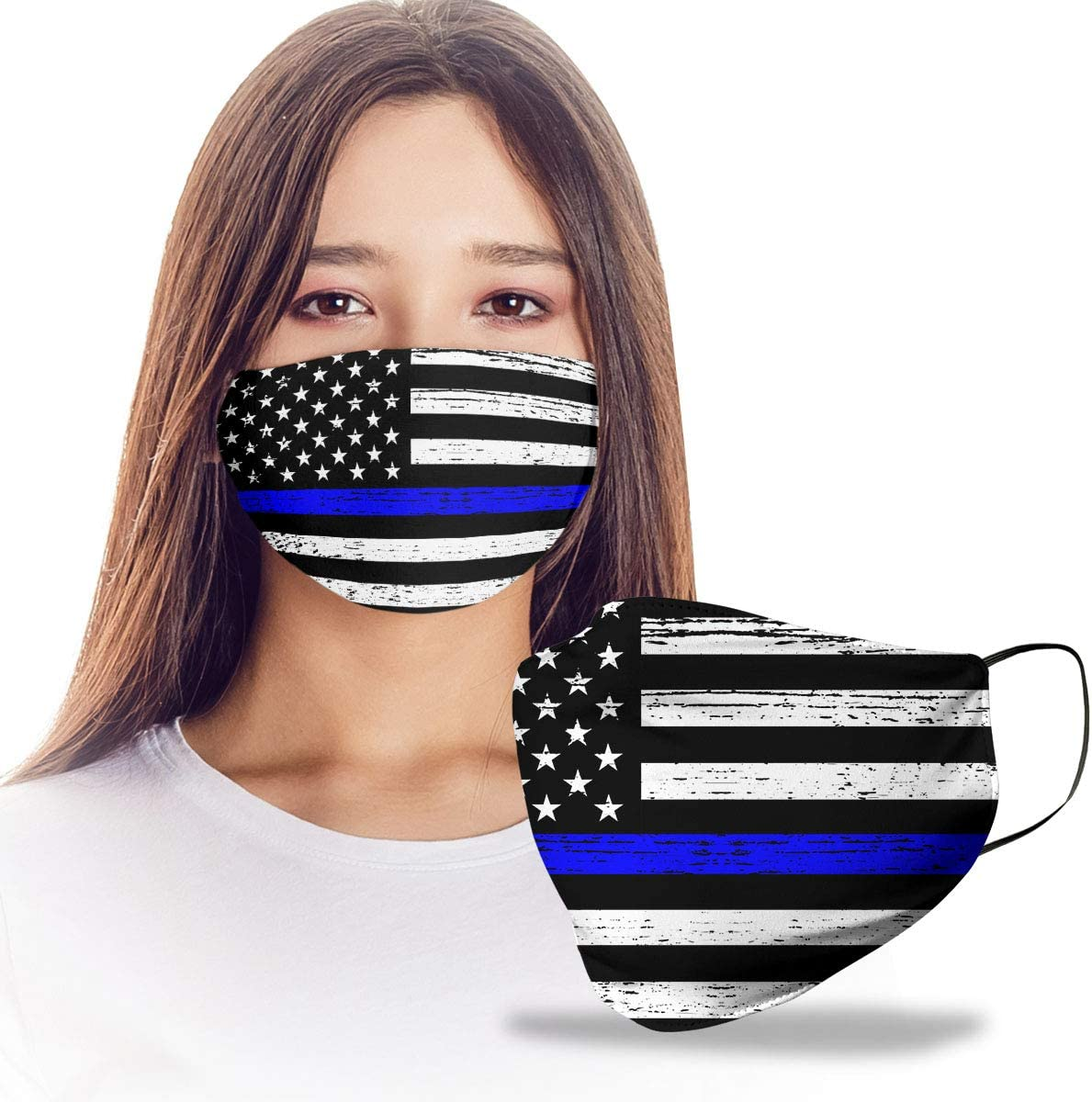 VTH Global Police Officer Thin Blue Line Lives Matter American Flag Law Enforcement Deputy Sheriff Reusable Washable Face Mask Women Men for Dust Protection