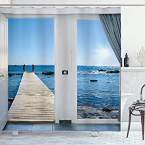 Ambesonne Beach Shower Curtain Coastal Theme With The Ocean Sea Sunny Day Scenery With Patio From Window Cloth Fabric Bathroom Decor Set With Hooks 70 Long Light Blue Home Kitchen Amazon Com