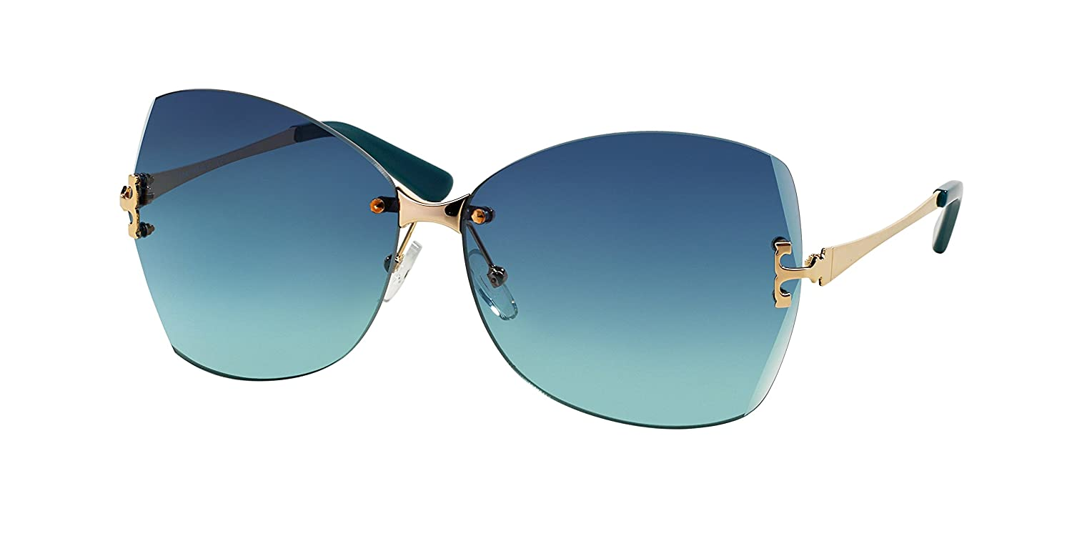 a9c1d0003004 Amazon.com: Tory Burch Sunglasses - TY6030 / Frame: Gold Lens: Teal  Gradient: Clothing