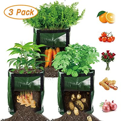 【3 Pack】 Potato Grow Bags, Plant Grow Bags 7 Gallon Heavy Duty Thickened Growing Bags Garden Vegetable Planter with Handles & Large Harvest Window : Garden & Outdoor