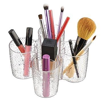 Claro Trio-organizador de cosm/éticos mDesign productos de belleza para el gabinete del tocador; organiza aplicadores de maquillaje