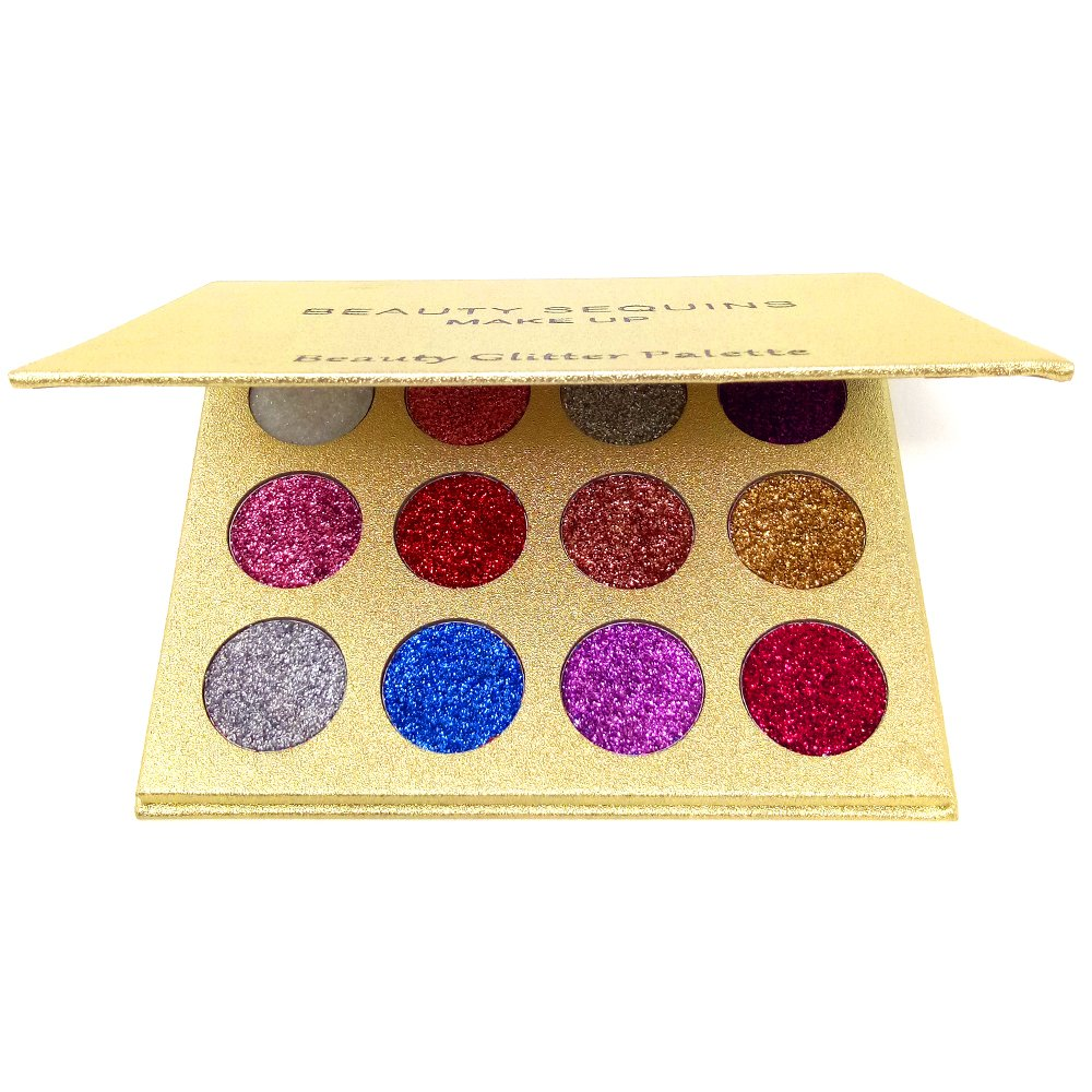 BEAUTY SEQUINS Eyeshadow Palette Insanely Pigments 4 Glitter Make Up Palettes Long Lasting Waterproof 4 Colors (12 colors glitter palette) Beauty Glazed