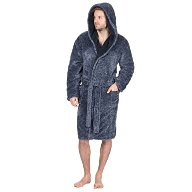 e67c75de7c Pierre Roche Mens 2 Tone Snuggle Fleece Dressing Gown - Hooded Robe With  Pockets  Amazon.co.uk  Clothing