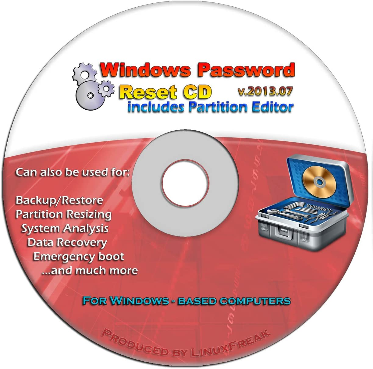 Advanced Recovery Boot Password Reset CD Disc for Windows XP, Vista, 7, 8 (All Versions of Windows - 32 / 64 bit Editions)