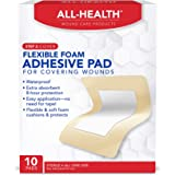All Health Flexible Foam Adhesive Pad, 10 Pads, 3.5 in x 4.5 in, 8 Hour Protection | Waterproof Bandage for Covering…