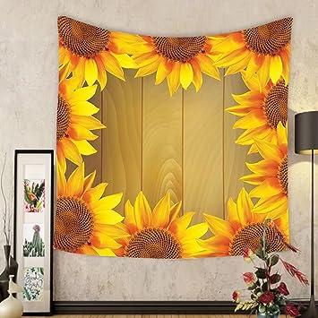 Amazon.com: Gzhihine Custom tapestry Sunflower Decor Tapestry Ethnic ...