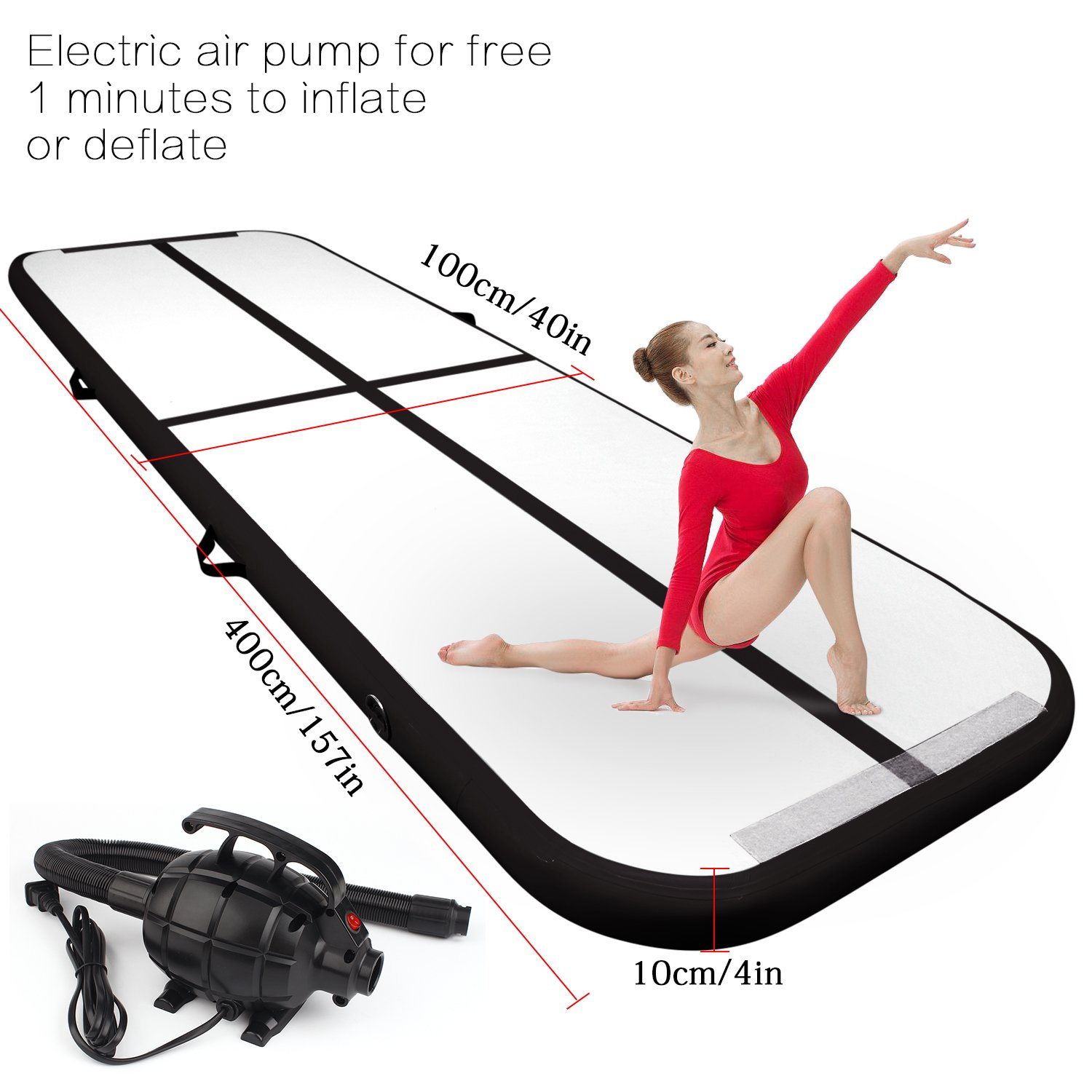 FBSPORT 13.12ft air Track Tumbling mat Inflatable Gymnastics airtrack with Electric Air Pump for Practice Gymnastics, Tumbling,Parkour, Home Floor