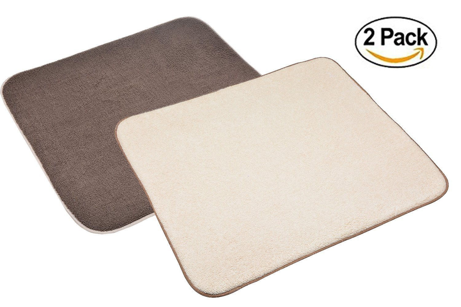 Sinland Microfiber Dish Drying Mats for Kitchen Countertop Drying Pads for Dishes Absorbent 16Inch X 18Inch 2 Pack Brown & Cream