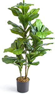 Treeish Décor Artificial Tree, Silk Fake Fiddle Leaf Fig, Faux Ficus Lyrata Plant, Tropical Plants, 35inch, for Indoor Outdoor Home & Office | with 4-inch Black Pot - Realistic Design - Foliage Decor