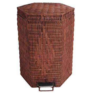 Superio On Trash Can Wicker Look 6 Qt Brown And Beige