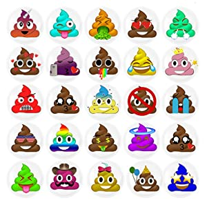 HSJH Refrigerator Magnets 24pack Colorful Beautiful Poop Emoji Fridge stickers Funny for Office Cabinets Whiteboards Decorative Photo Kids And Adults Gift (24 Poop Emoji)