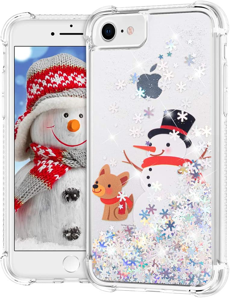 "Ruky iPhone 6 6s 7 8 Christmas Case, iPhone SE 2020 Case Glitter Liquid Flowing Bling Merry Christmas Pattern Soft TPU Shockproof Girls Women Children Case for iPhone 6/6s/7/8/SE 2020 4.7"", Snowman"