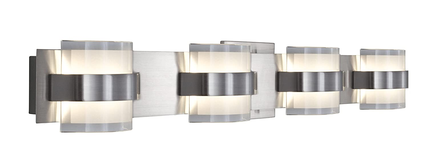 Rogue Decor Restraint 4-Light LED Bath Light – Polished Chrome Finish with Frosted and Clear Glass
