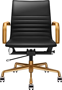Luxmod Black And Gold Desk Chair Home Office Chair With Armrests Mid Back Adjustable Swivel Chair Vegan Leather Office Chair Ergonomic Desk Chair For Extra Back Lumbar Support Black Gold Amazon Co Uk
