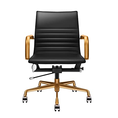 buy popular 5f749 cdd34 LUXMOD Black and Gold Desk Chair, Home Office Chair with Armrests, Mid Back  Adjustable Swivel Chair, Vegan Leather Office Chair, Ergonomic Desk Chair  ...