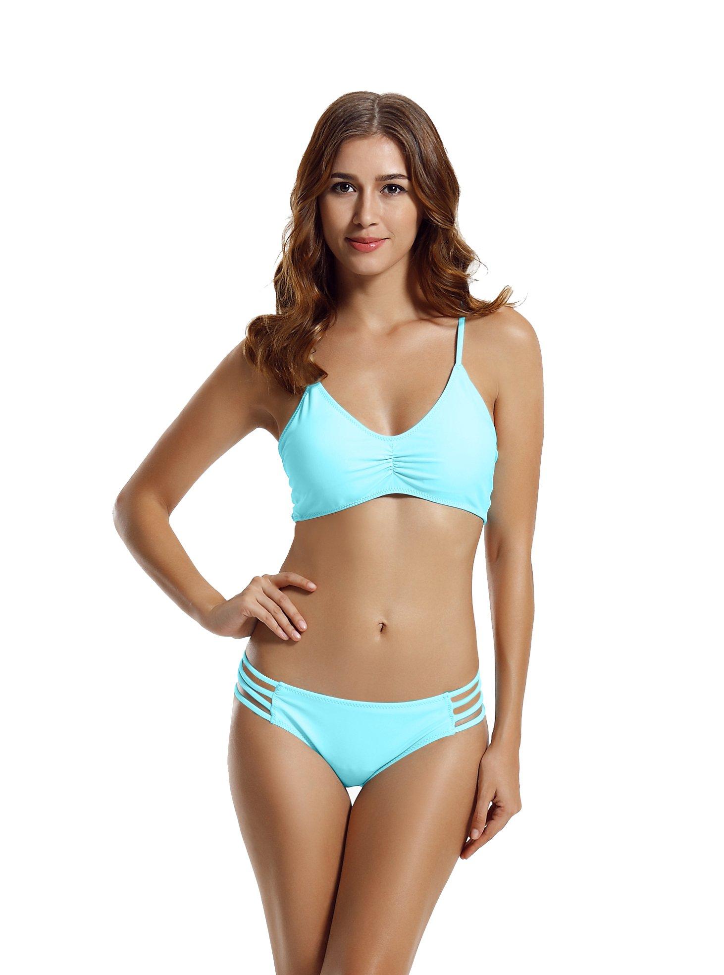 79deb44bb6 zeraca Women s Strap Side Bottom Halter Racerback Bikini Bathing Suits  (FBA) Red product image