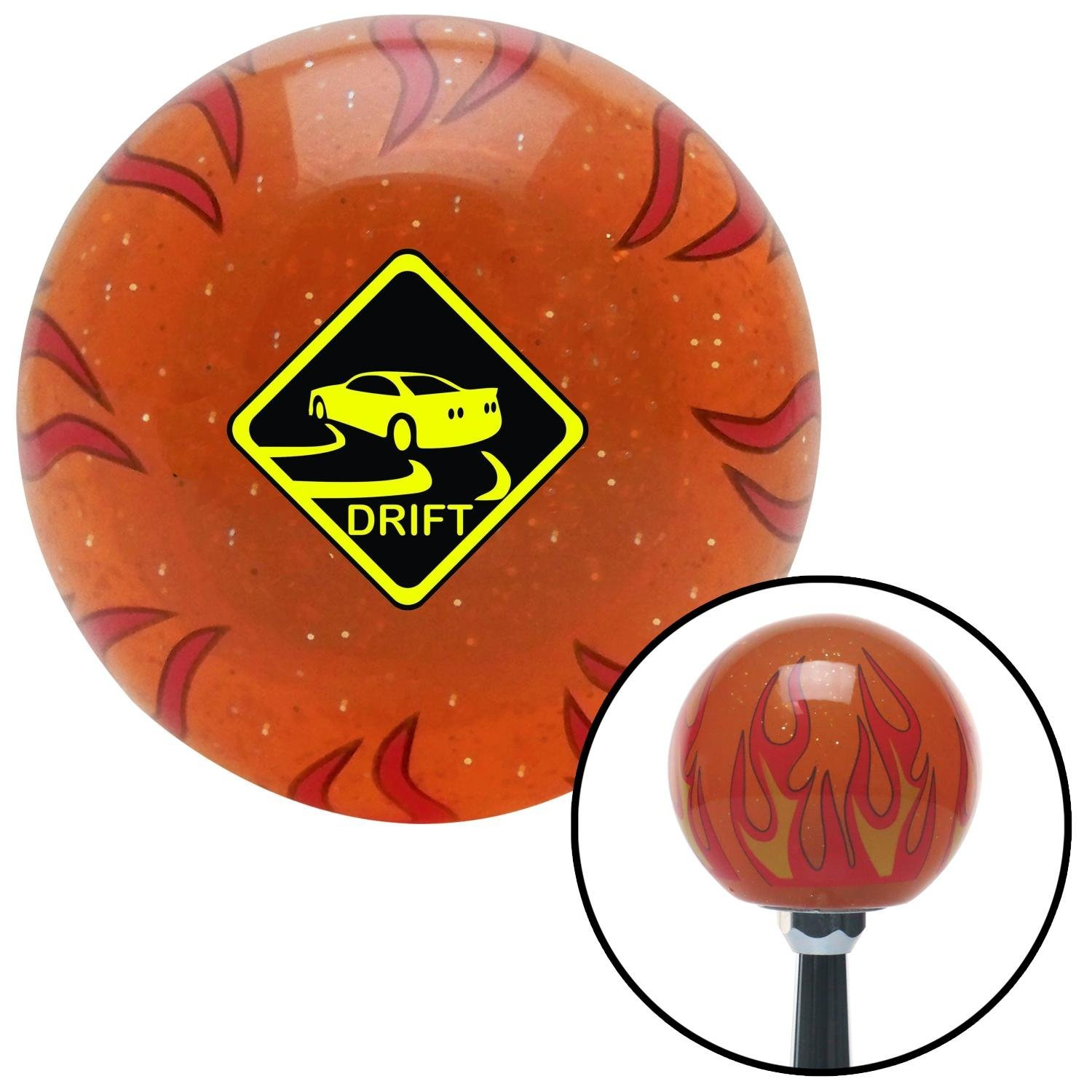 American Shifter 258993 Orange Flame Metal Flake Shift Knob with M16 x 1.5 Insert Yield to My Drift