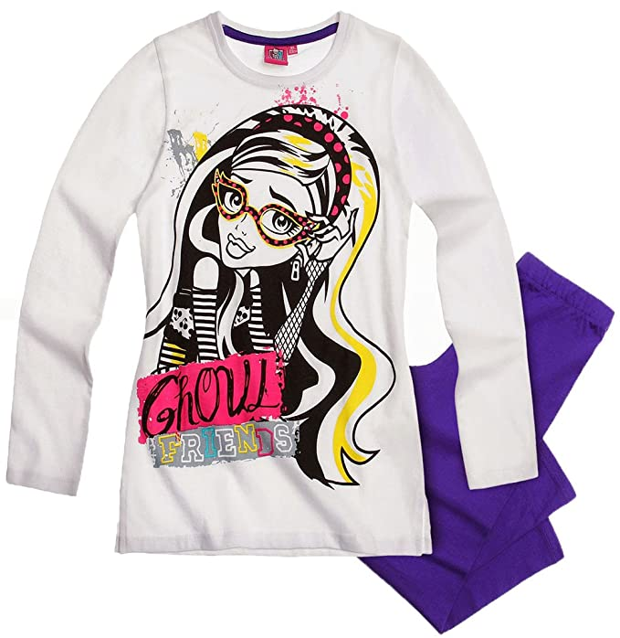 Pijama infantil largo, diseño de Monster High-Ghoul friends, color blanco/morado, de 8 a 14 años: Amazon.es: Ropa y accesorios