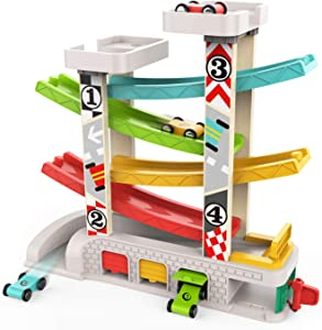TOP BRIGHT Car Ramp Toy for 1 2 Year Old Boy Gifts, Toddler Race Track Toy with 4 Wooden Cars and 3 Car Garage